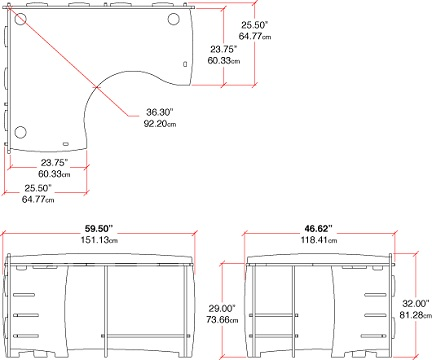 """60"""" x 47"""" Corner Desk Dimensions"""