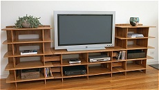 "Bamboo Media Center 24"" x 53"" Media Stand (center) + 2 Media Towers"
