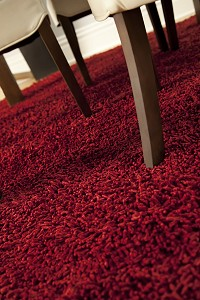 Bamboo Shag Rug in Crimson