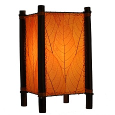 Natural Cocoa Leaf And Bamboo Kalani Table Lamp ~ Orange ...