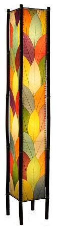 Natural Cocoa Leaf And Bamboo Tall Kalani Floor Lamp