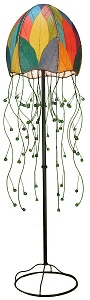 Natural Cocoa Leaf Jelly Fish Floor Lamp ~ Multi-Color