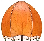 Natural Cocoa Leaf Jelly Fish Floor Lamp ~ Orange