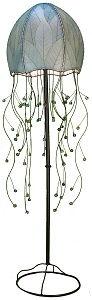 Natural Cocoa Leaf Jelly Fish Floor Lamp ~ Sea Blue