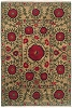 Flowers on Beige Authentic Fair Trade Tibetan Wool Rug