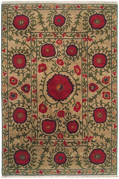 Flowers On Beige Authentic Fair Trade Tibetan Wool Rug