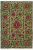 Flowers on Green Authentic Fair Trade Tibetan Wool Rug