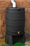 Recycled Black Rain Barrel and Stand
