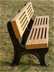 Recycled Plastic 6' Carriage House Bench w/Back - Cedar Lumber and Black Legs