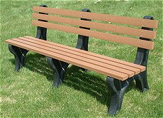 Recycled Plastic 6' Mall Bench w/Back - Cedar Lumber on Black Legs