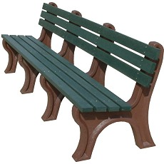 Recycled 8' Mall Bench w/Back - Green Lumber on Brown Legs
