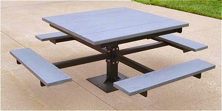 recycled plastic otter bay square pedestal picnic table