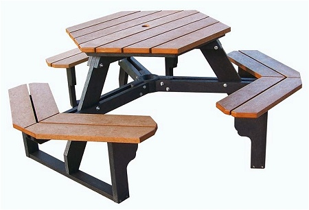 Recycled Plastic Palisades Hex Picnic Table
