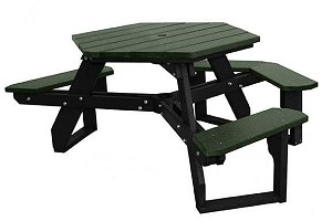 Recycled Plastic Palisades Hex Picnic Table - Recycled plastic hexagonal picnic table