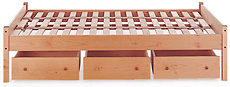 Handcrafted Classic Maple Platform Bed - Underbed Drawers View